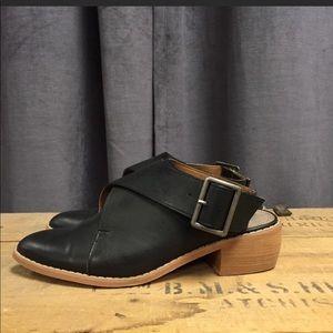 Mi.Mi | Black Slingback with buckle, leather mule